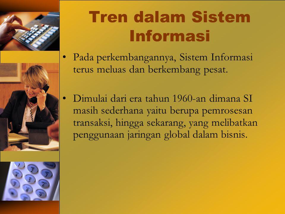 Tren dalam Sistem Informasi Pada perkembangannya, Sistem Informasi terus meluas dan berkembang pesat. Dimulai dari era tahun 1960-an dimana SI masih s