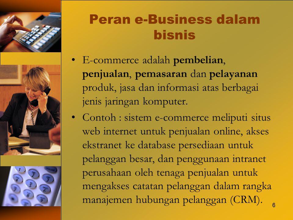 Peran e-Business dalam bisnis E-commerce adalah pembelian, penjualan, pemasaran dan pelayanan produk, jasa dan informasi atas berbagai jenis jaringan