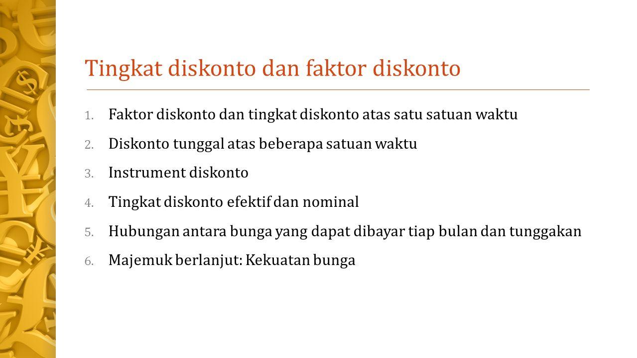 Tingkat diskonto dan faktor diskonto 1.