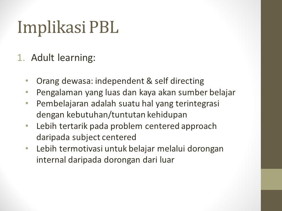 Implikasi PBL 1.Adult learning: Orang dewasa: independent & self directing Pengalaman yang luas dan kaya akan sumber belajar Pembelajaran adalah suatu