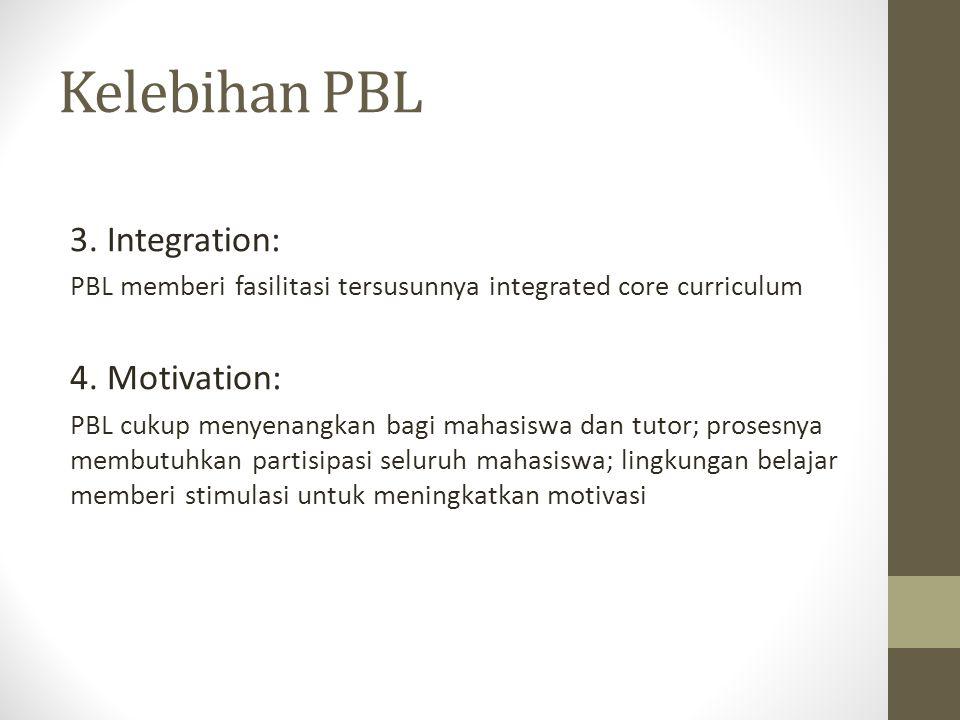Kelebihan PBL 3. Integration: PBL memberi fasilitasi tersusunnya integrated core curriculum 4. Motivation: PBL cukup menyenangkan bagi mahasiswa dan t