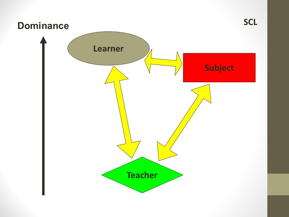 Knowledge Teacher Family & community Students: individual & collaboration Student-centered learning