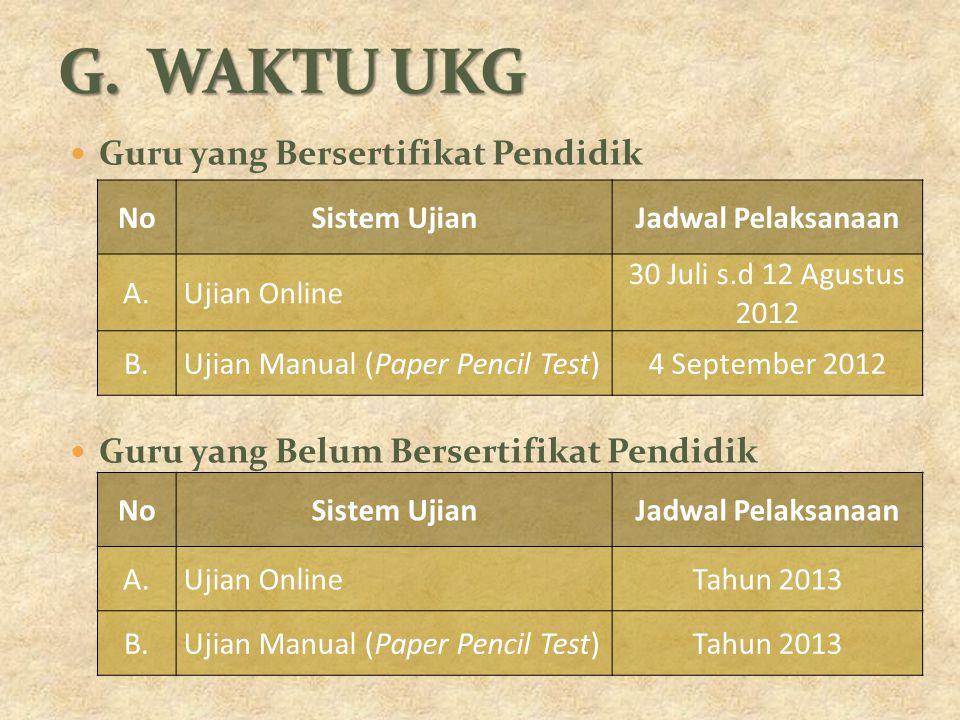 Guru yang Bersertifikat Pendidik Guru yang Belum Bersertifikat Pendidik NoSistem UjianJadwal Pelaksanaan A.Ujian Online 30 Juli s.d 12 Agustus 2012 B.