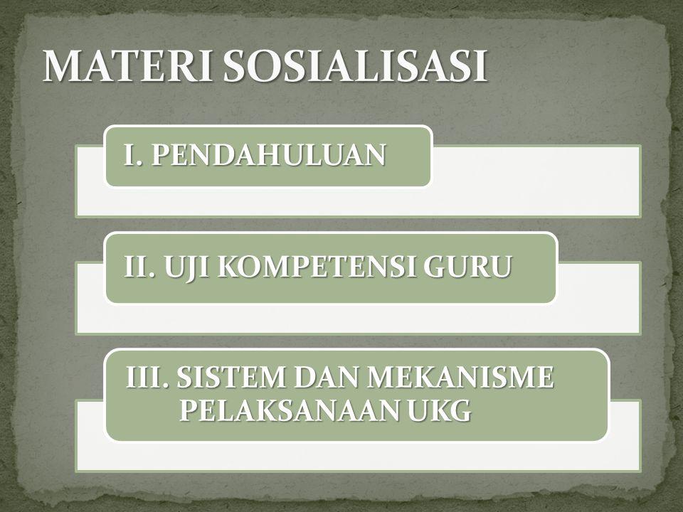 I. PENDAHULUAN II. UJI KOMPETENSI GURU III. SISTEM DAN MEKANISME PELAKSANAAN UKG