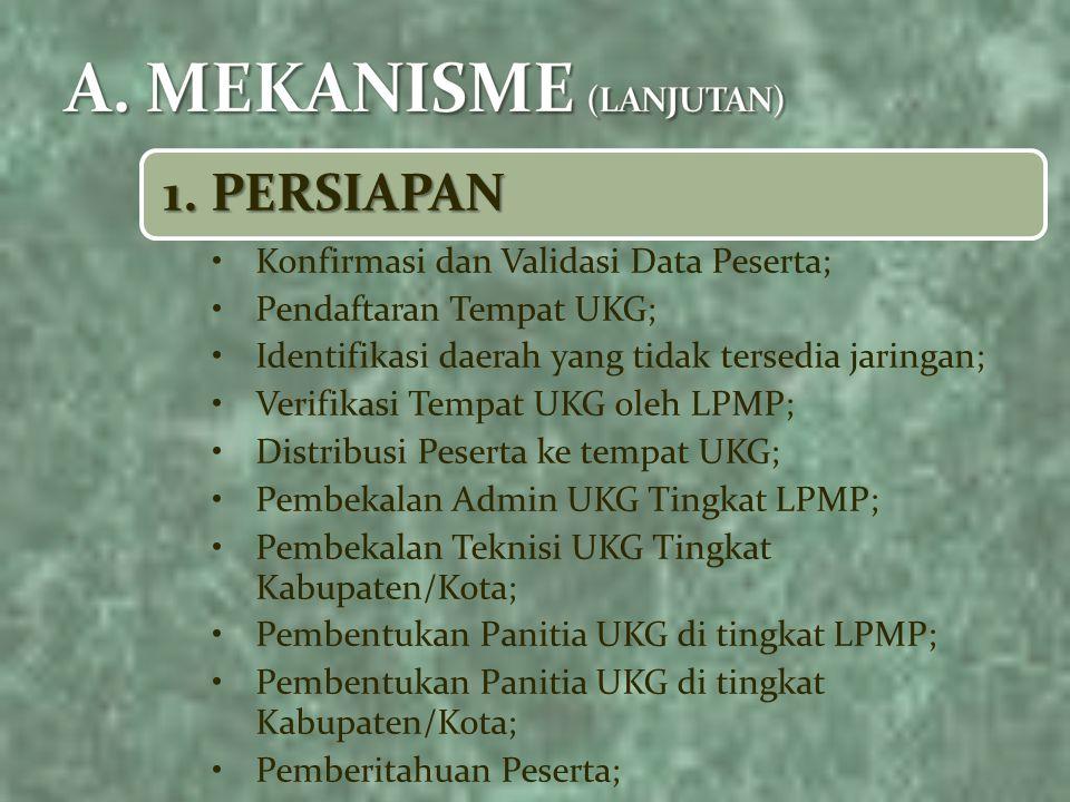 1. PERSIAPAN Konfirmasi dan Validasi Data Peserta; Pendaftaran Tempat UKG; Identifikasi daerah yang tidak tersedia jaringan; Verifikasi Tempat UKG ole