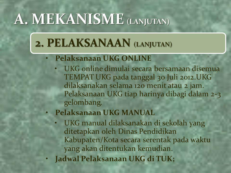 2. PELAKSANAAN (LANJUTAN) Pelaksanaan UKG ONLINE UKG online dimulai secara bersamaan disemua TEMPAT UKG pada tanggal 30 Juli 2012.UKG dilaksanakan sel