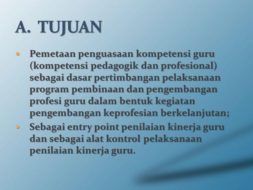 Pemetaan penguasaan kompetensi guru (kompetensi pedagogik dan profesional) sebagai dasar pertimbangan pelaksanaan program pembinaan dan pengembangan p