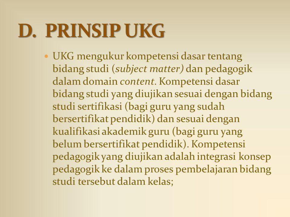 UKG mengukur kompetensi dasar tentang bidang studi (subject matter) dan pedagogik dalam domain content. Kompetensi dasar bidang studi yang diujikan se
