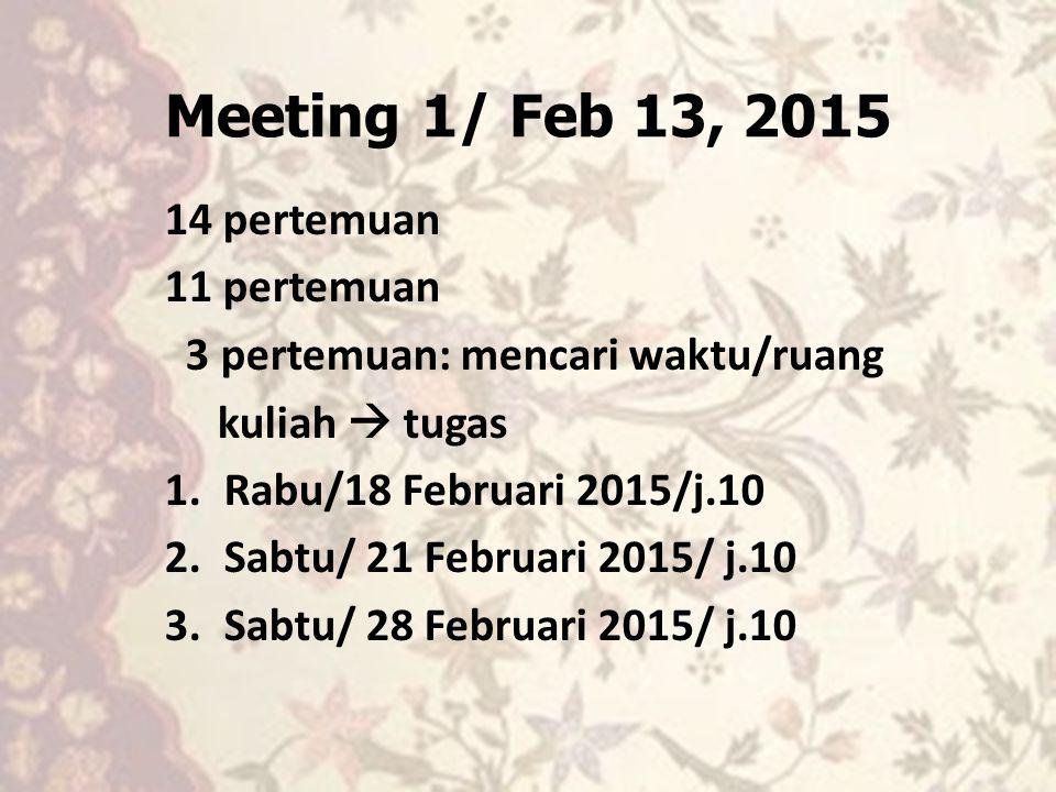 Meeting 1/ Feb 13, 2015 14 pertemuan 11 pertemuan 3 pertemuan: mencari waktu/ruang kuliah  tugas 1.Rabu/18 Februari 2015/j.10 2.Sabtu/ 21 Februari 20