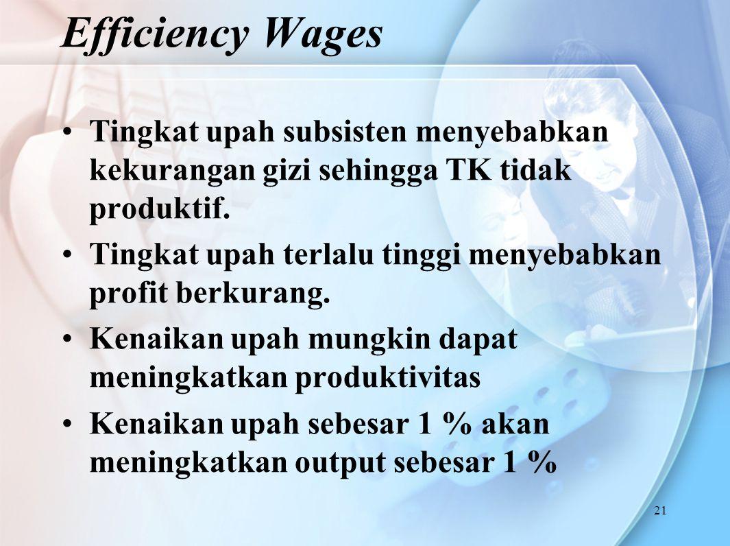 21 Tingkat upah subsisten menyebabkan kekurangan gizi sehingga TK tidak produktif. Tingkat upah terlalu tinggi menyebabkan profit berkurang. Kenaikan