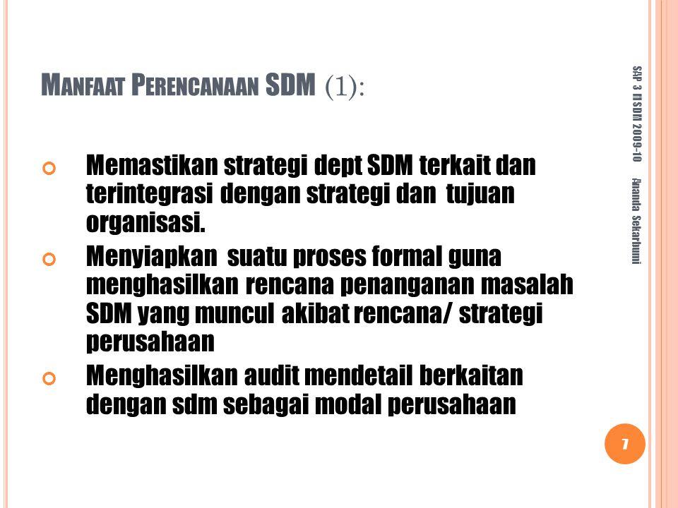 M ANFAAT P ERENCANAAN SDM (1): Memastikan strategi dept SDM terkait dan terintegrasi dengan strategi dan tujuan organisasi.