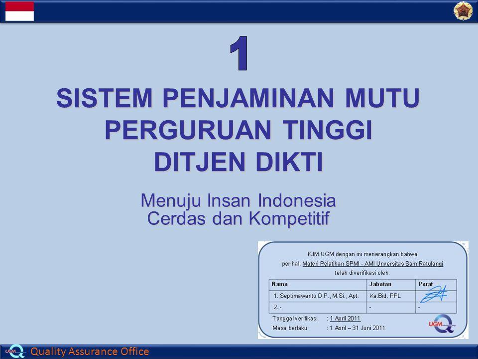 Quality Assurance Office SISTEM PENJAMINAN MUTU PERGURUAN TINGGI DITJEN DIKTI Menuju Insan Indonesia Cerdas dan Kompetitif