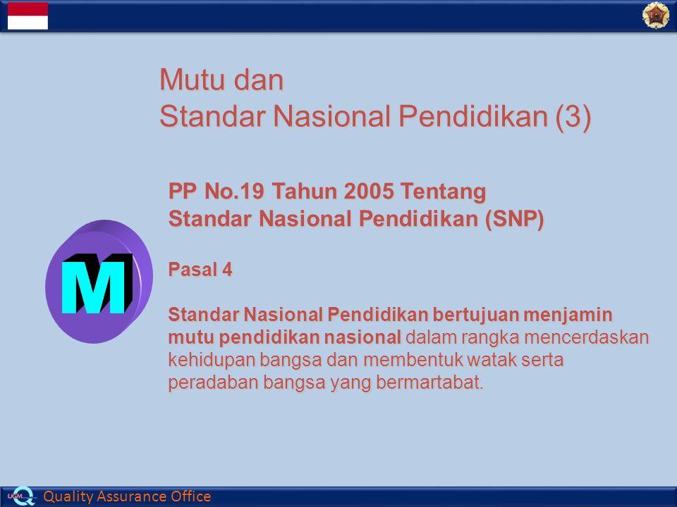 Quality Assurance Office Mutu dan Standar Nasional Pendidikan (3) PP No.19 Tahun 2005 Tentang Standar Nasional Pendidikan (SNP) Pasal 4 Standar Nasional Pendidikan bertujuan menjamin mutu pendidikan nasional dalam rangka mencerdaskan kehidupan bangsa dan membentuk watak serta peradaban bangsa yang bermartabat.
