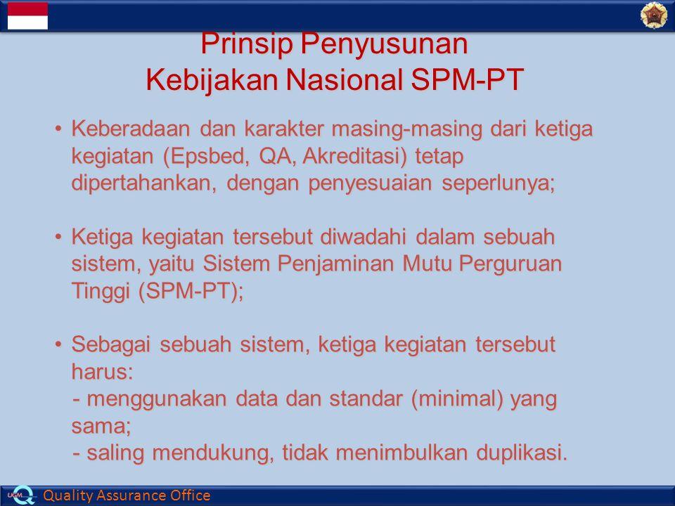 Quality Assurance Office Prinsip Penyusunan Kebijakan Nasional SPM-PT Keberadaan dan karakter masing-masing dari ketigaKeberadaan dan karakter masing-masing dari ketiga kegiatan (Epsbed, QA, Akreditasi) tetap dipertahankan, dengan penyesuaian seperlunya; Ketiga kegiatan tersebut diwadahi dalam sebuahKetiga kegiatan tersebut diwadahi dalam sebuah sistem, yaitu Sistem Penjaminan Mutu Perguruan Tinggi (SPM-PT); Sebagai sebuah sistem, ketiga kegiatan tersebutSebagai sebuah sistem, ketiga kegiatan tersebutharus: - menggunakan data dan standar (minimal) yang sama; - menggunakan data dan standar (minimal) yang sama; - saling mendukung, tidak menimbulkan duplikasi.