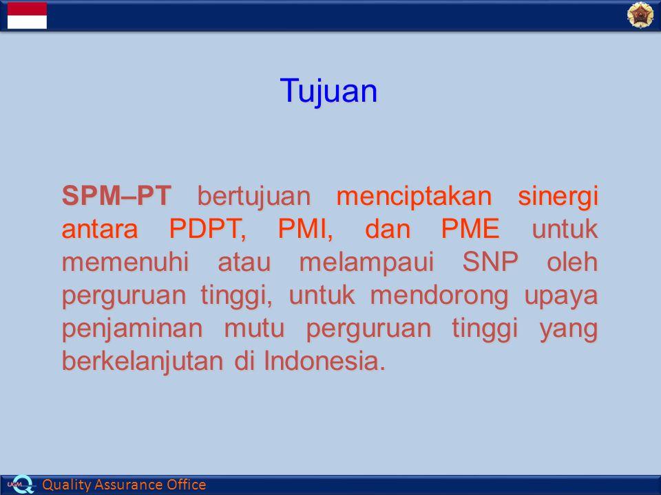 Quality Assurance Office Tujuan SPM–PT bertujuan menciptakan sinergi antara PDPT, PMI, dan PME untuk memenuhi atau melampaui SNP oleh perguruan tinggi, untuk mendorong upaya penjaminan mutu perguruan tinggi yang berkelanjutan di Indonesia.