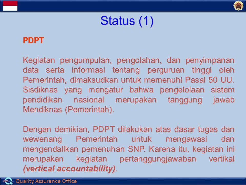 Quality Assurance Office Status (1) PDPT Kegiatan pengumpulan, pengolahan, dan penyimpanan data serta informasi tentang perguruan tinggi oleh Pemerintah, dimaksudkan untuk memenuhi Pasal 50 UU.