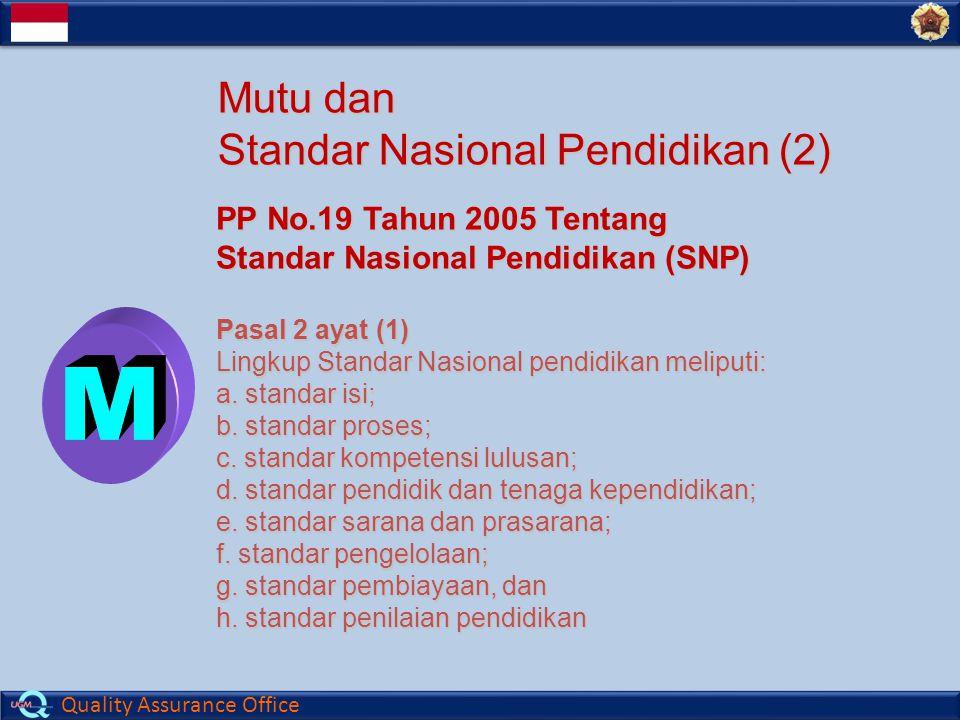 Quality Assurance Office Mutu dan Standar Nasional Pendidikan (2) PP No.19 Tahun 2005 Tentang Standar Nasional Pendidikan (SNP) Pasal 2 ayat (1) Lingkup Standar Nasional pendidikan meliputi: a.