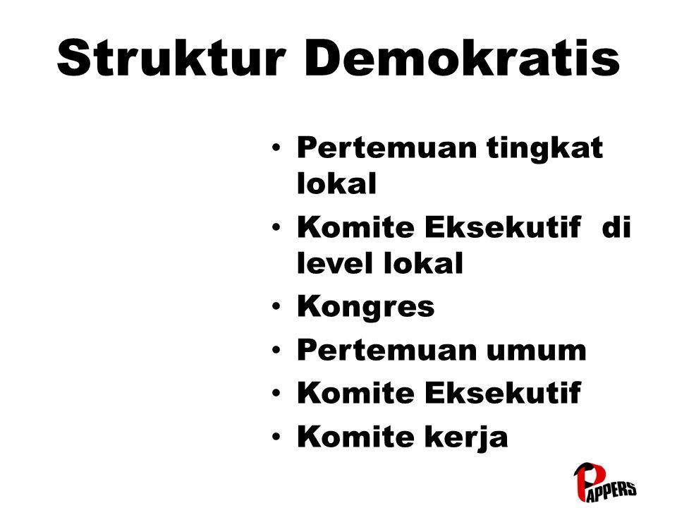 Struktur Demokratis Pertemuan tingkat lokal Pertemuan tingkat lokal Komite Eksekutif di level lokal Komite Eksekutif di level lokal Kongres Kongres Pertemuan umum Pertemuan umum Komite Eksekutif Komite Eksekutif Komite kerja Komite kerja