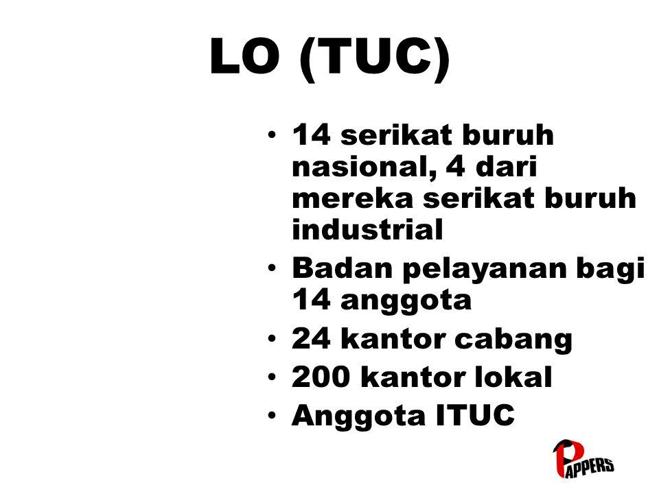 LO (TUC) 14 serikat buruh nasional, 4 dari mereka serikat buruh industrial 14 serikat buruh nasional, 4 dari mereka serikat buruh industrial Badan pelayanan bagi 14 anggota Badan pelayanan bagi 14 anggota 24 kantor cabang 24 kantor cabang 200 kantor lokal 200 kantor lokal Anggota ITUC Anggota ITUC
