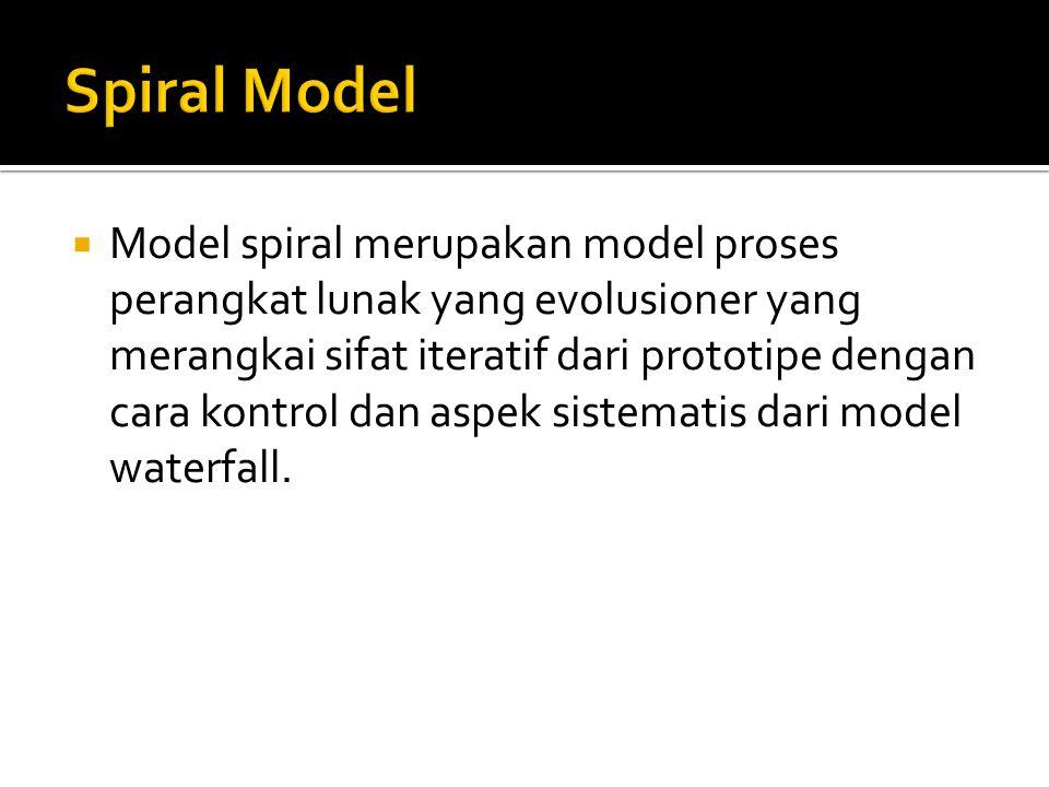 Model spiral merupakan model proses perangkat lunak yang evolusioner yang merangkai sifat iteratif dari prototipe dengan cara kontrol dan aspek sistematis dari model waterfall.