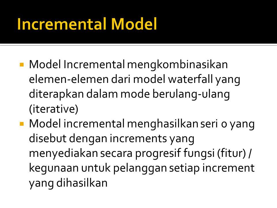  Model Incremental mengkombinasikan elemen-elemen dari model waterfall yang diterapkan dalam mode berulang-ulang (iterative)  Model incremental menghasilkan seri 0 yang disebut dengan increments yang menyediakan secara progresif fungsi (fitur) / kegunaan untuk pelanggan setiap increment yang dihasilkan