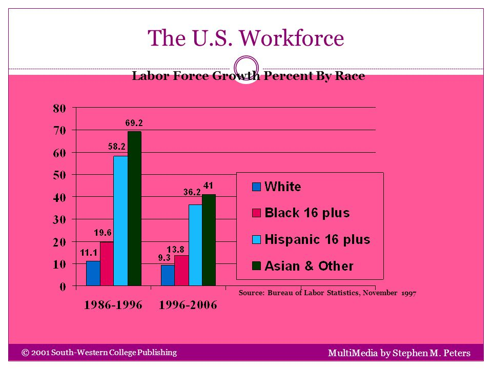 The U.S. Workforce MultiMedia by Stephen M. Peters © 2001 South-Western College Publishing Labor Force Growth Percent By Race Source: Bureau of Labor