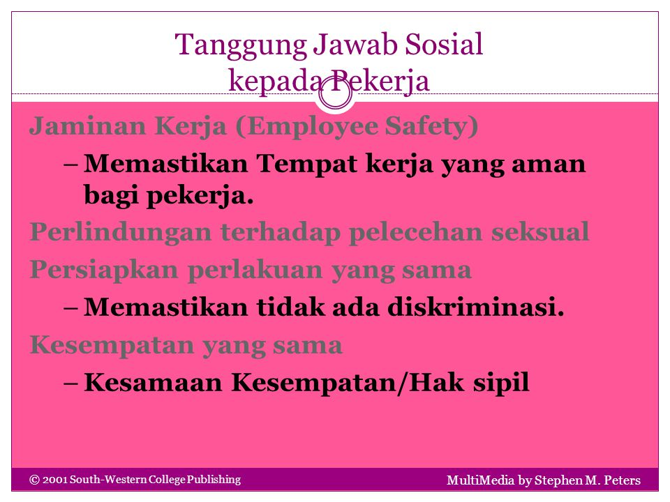 Tanggung Jawab Sosial kepada Pekerja MultiMedia by Stephen M. Peters © 2001 South-Western College Publishing Jaminan Kerja (Employee Safety) –Memastik
