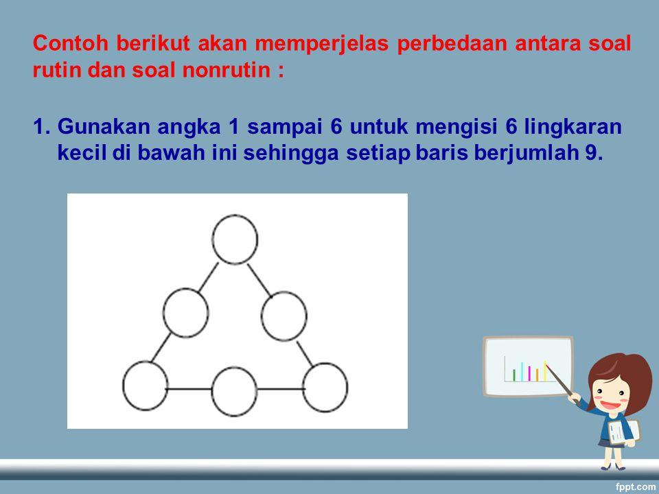 Contoh berikut akan memperjelas perbedaan antara soal rutin dan soal nonrutin : 1.Gunakan angka 1 sampai 6 untuk mengisi 6 lingkaran kecil di bawah ini sehingga setiap baris berjumlah 9.
