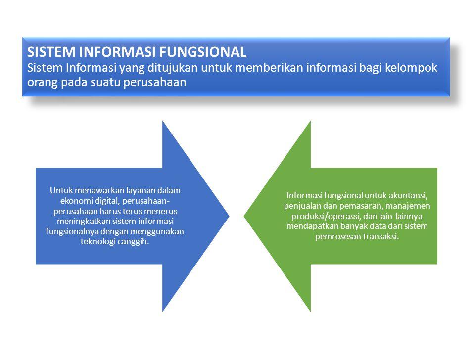 SISTEM INFORMASI FUNGSIONAL Sistem Informasi yang ditujukan untuk memberikan informasi bagi kelompok orang pada suatu perusahaan Untuk menawarkan laya