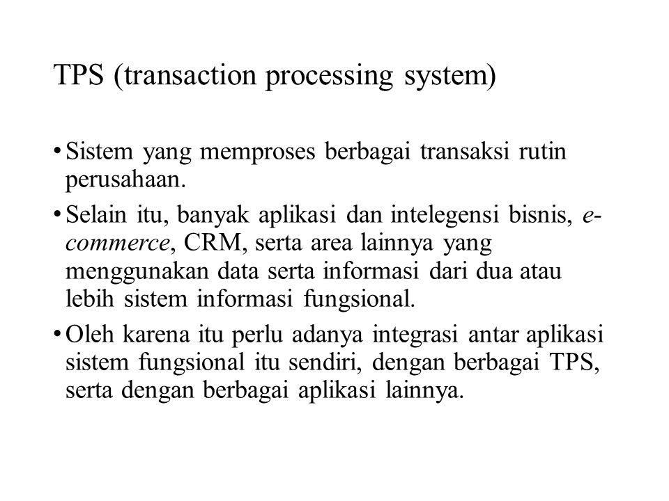 TPS (transaction processing system) Sistem yang memproses berbagai transaksi rutin perusahaan. Selain itu, banyak aplikasi dan intelegensi bisnis, e-
