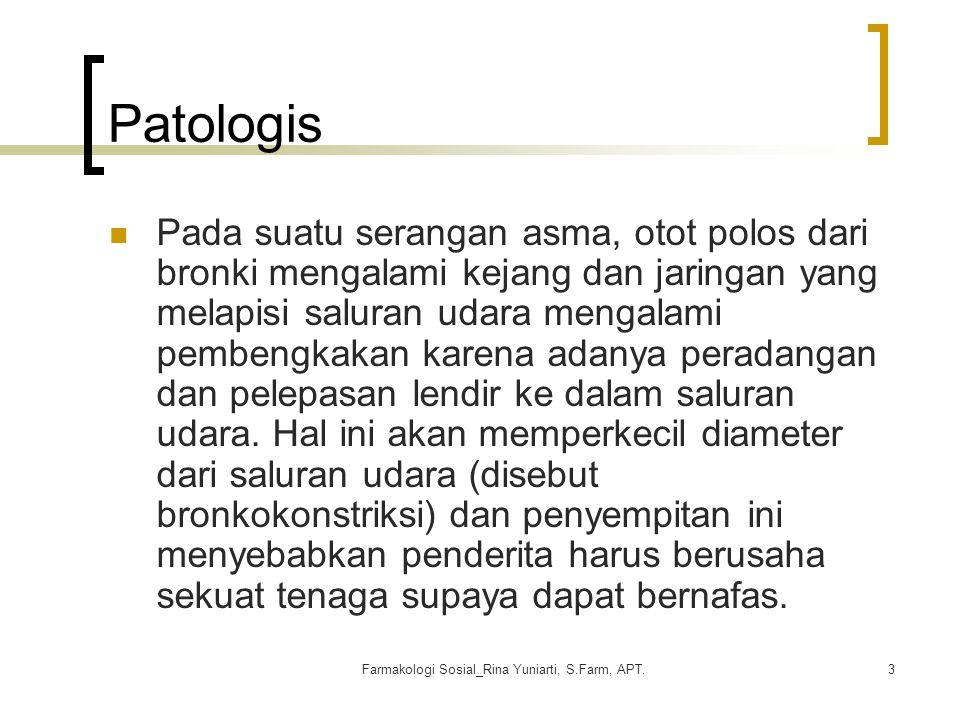Farmakologi Sosial_Rina Yuniarti, S.Farm, APT.3 Patologis Pada suatu serangan asma, otot polos dari bronki mengalami kejang dan jaringan yang melapisi