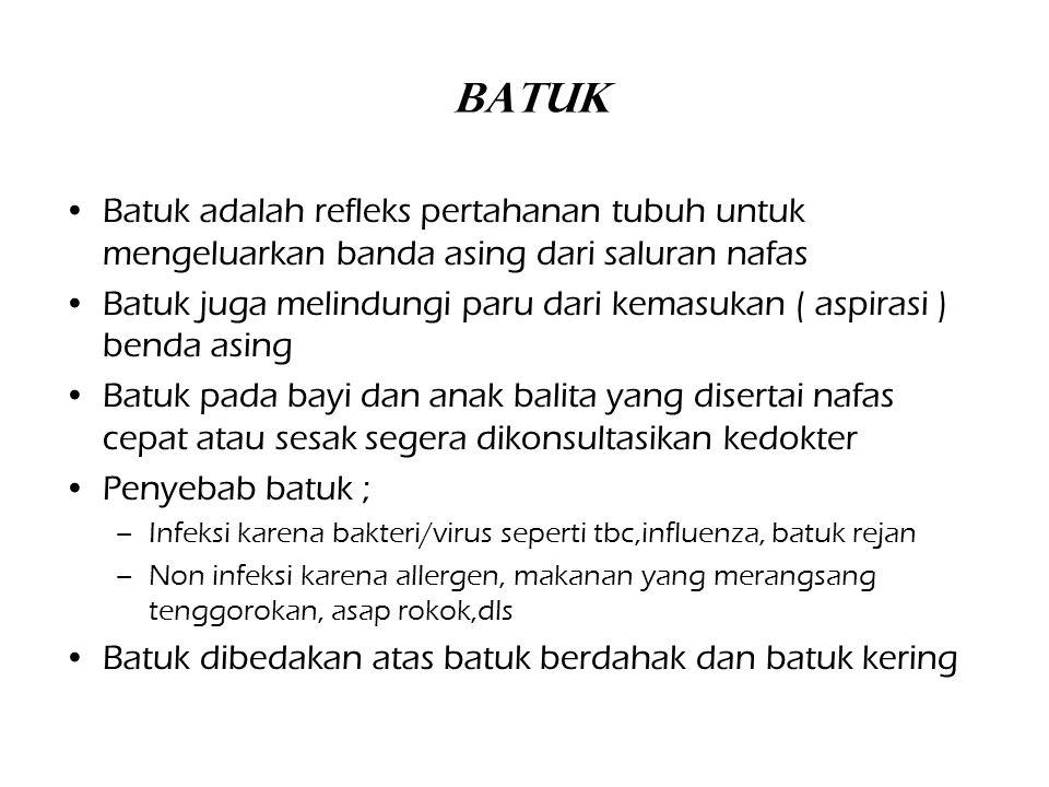 Batuk Batuk adalah refleks pertahanan tubuh untuk mengeluarkan banda asing dari saluran nafas Batuk juga melindungi paru dari kemasukan ( aspirasi ) b