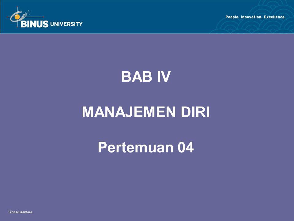 Bina Nusantara BAB IV MANAJEMEN DIRI Pertemuan 04