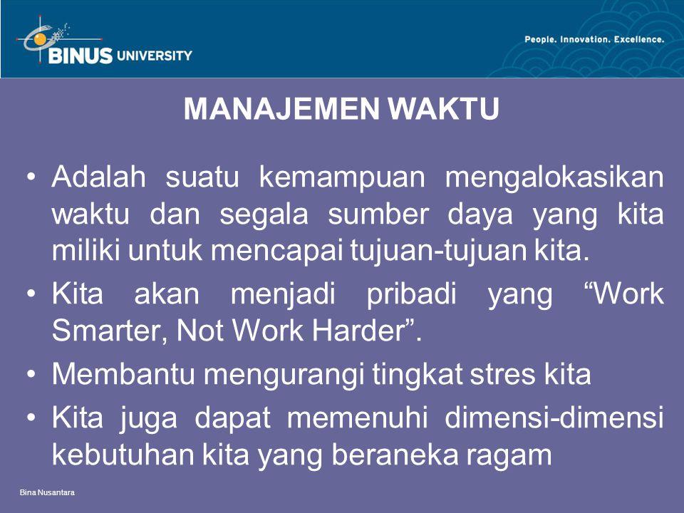 Bina Nusantara MANAJEMEN WAKTU Adalah suatu kemampuan mengalokasikan waktu dan segala sumber daya yang kita miliki untuk mencapai tujuan-tujuan kita.