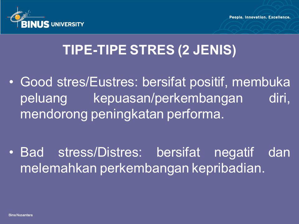 Bina Nusantara CARA MENGELOLA STRES Identifikasi jenis stres dan tingkatan stres itu Tingkatkan keterampilan mengelola waktu Ungkapkan diri anda kepada orang lain Menulis diari/jurnal harian Konsultasi dengan orang prefesional (konselor) Visualisasi/imajinasi mental yang sehat Relaksasi