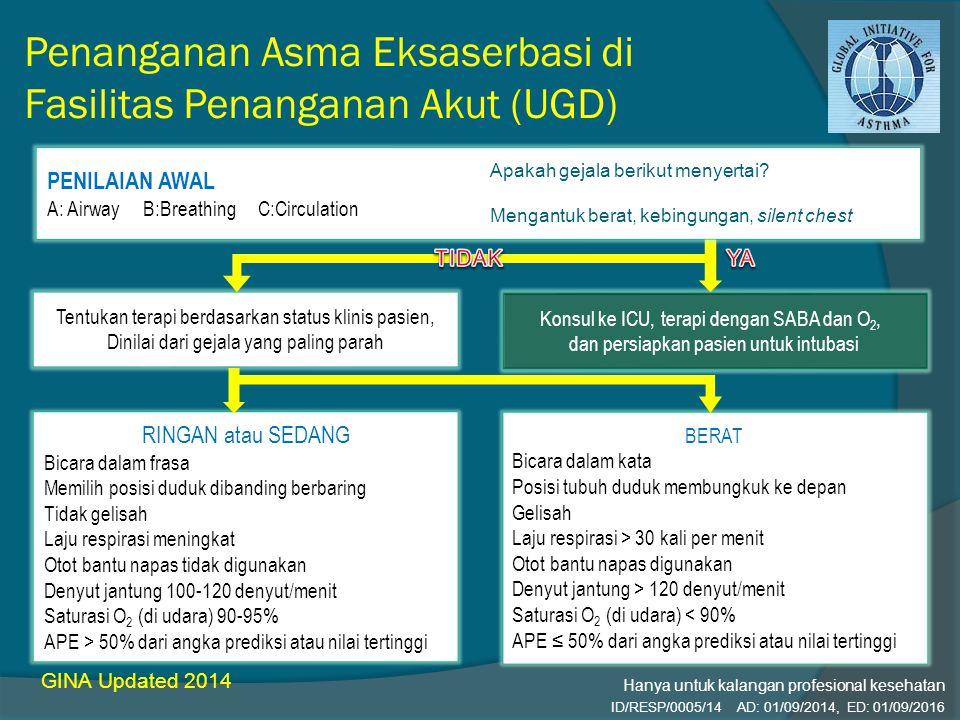 Penanganan Asma Eksaserbasi di Fasilitas Penanganan Akut (UGD) GINA Updated 2014 Konsul ke ICU, terapi dengan SABA dan O 2, dan persiapkan pasien untu