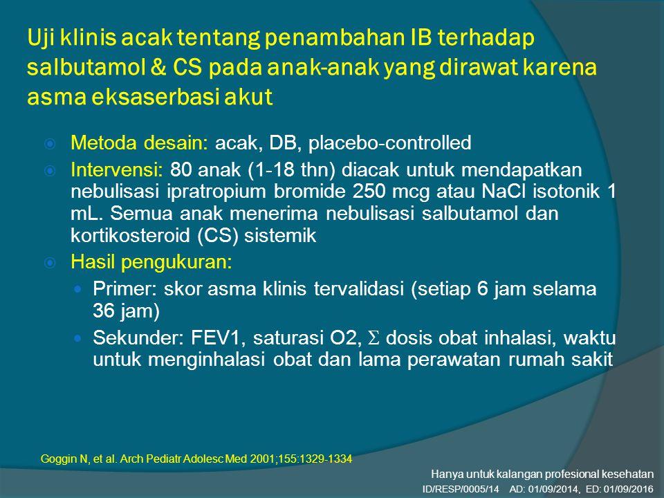 Uji klinis acak tentang penambahan IB terhadap salbutamol & CS pada anak-anak yang dirawat karena asma eksaserbasi akut  Metoda desain: acak, DB, pla