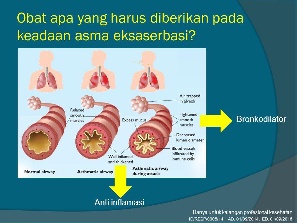 Obat apa yang harus diberikan pada keadaan asma eksaserbasi? Anti inflamasi Bronkodilator ID/RESP/0005/14 AD: 01/09/2014, ED: 01/09/2016 Hanya untuk k