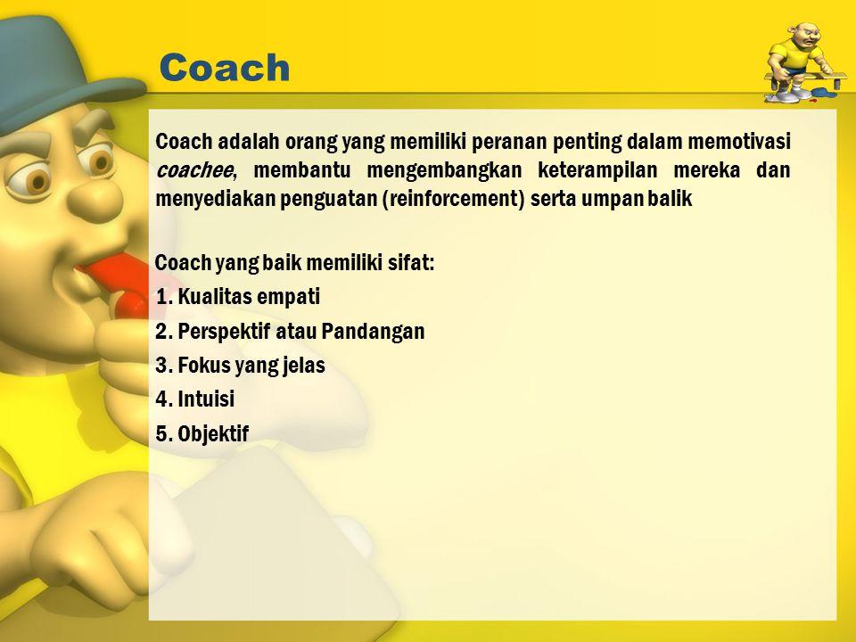 Coach Coach adalah orang yang memiliki peranan penting dalam memotivasi coachee, membantu mengembangkan keterampilan mereka dan menyediakan penguatan