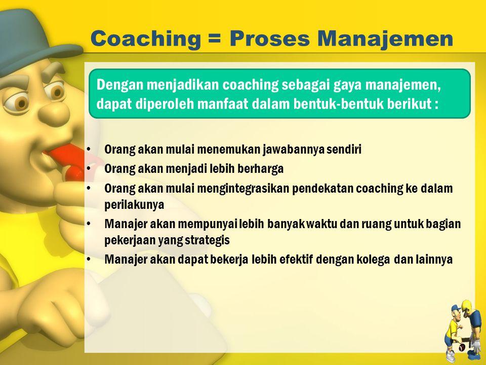 Coaching = Proses Manajemen Orang akan mulai menemukan jawabannya sendiri Orang akan menjadi lebih berharga Orang akan mulai mengintegrasikan pendekat