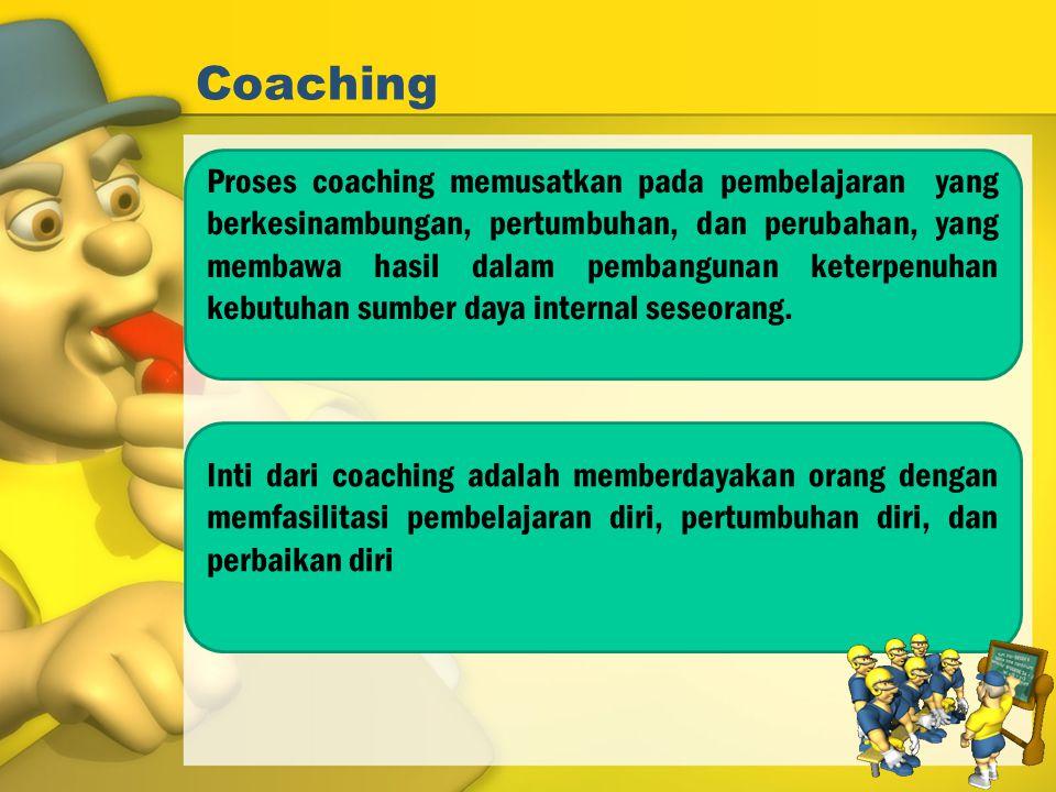 Coaching Proses coaching memusatkan pada pembelajaran yang berkesinambungan, pertumbuhan, dan perubahan, yang membawa hasil dalam pembangunan keterpen