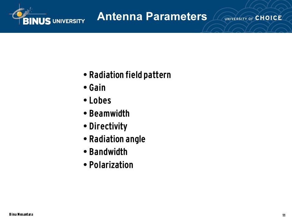 Bina Nusantara 11 Radiation field pattern Gain Lobes Beamwidth Directivity Radiation angle Bandwidth Polarization Antenna Parameters