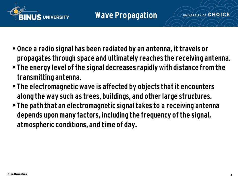 Bina Nusantara 4 Wave Propagation Once a radio signal has been radiated by an antenna, it travels or propagates through space and ultimately reaches the receiving antenna.