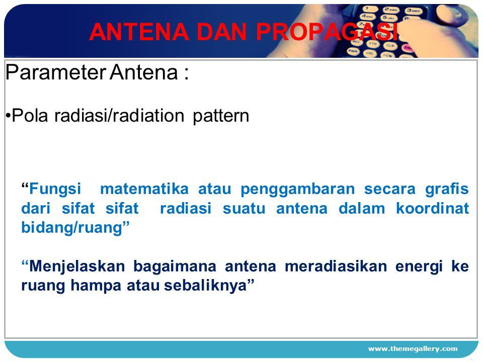 "www.themegallery.com ANTENA DAN PROPAGASI 1 2 3 4 Parameter Antena : Pola radiasi/radiation pattern ""Fungsi matematika atau penggambaran secara grafis"