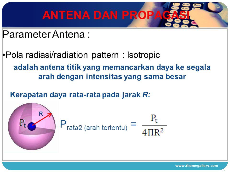 www.themegallery.com ANTENA DAN PROPAGASI 1 2 3 4 Parameter Antena : Pola radiasi/radiation pattern : Isotropic adalah antena titik yang memancarkan d