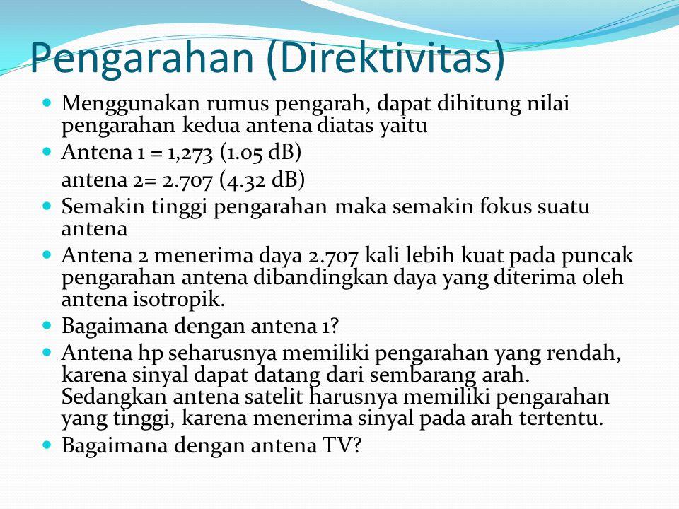 Pengarahan (Direktivitas) Menggunakan rumus pengarah, dapat dihitung nilai pengarahan kedua antena diatas yaitu Antena 1 = 1,273 (1.05 dB) antena 2= 2