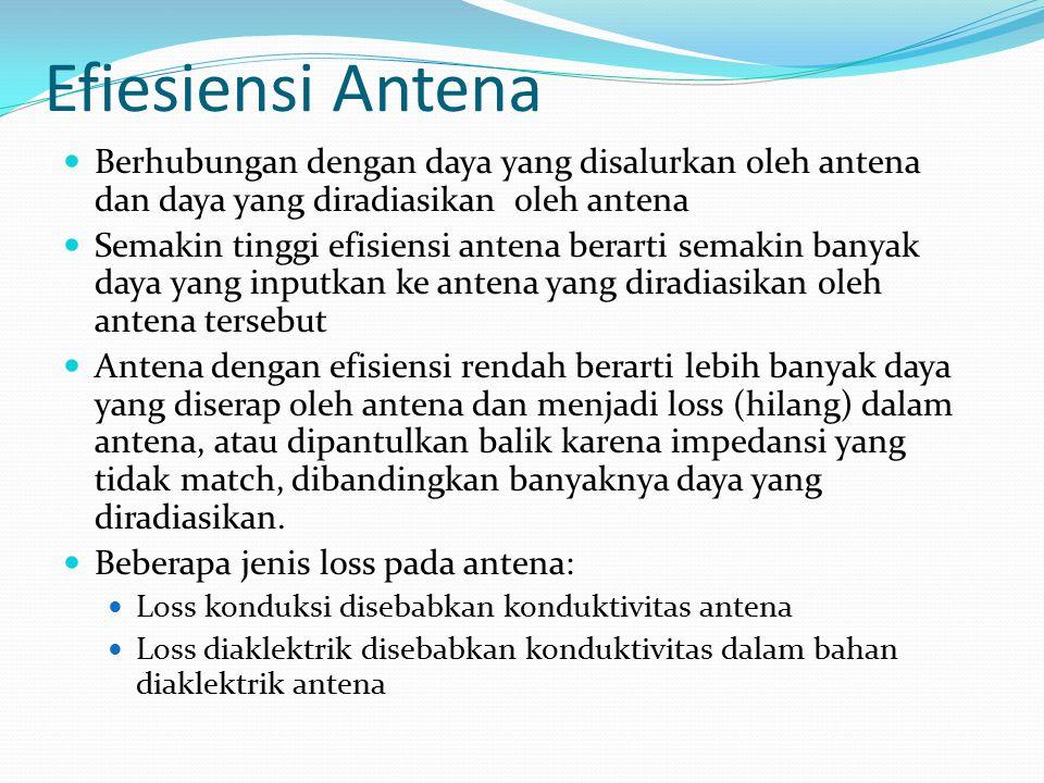 Efiesiensi Antena Berhubungan dengan daya yang disalurkan oleh antena dan daya yang diradiasikan oleh antena Semakin tinggi efisiensi antena berarti s