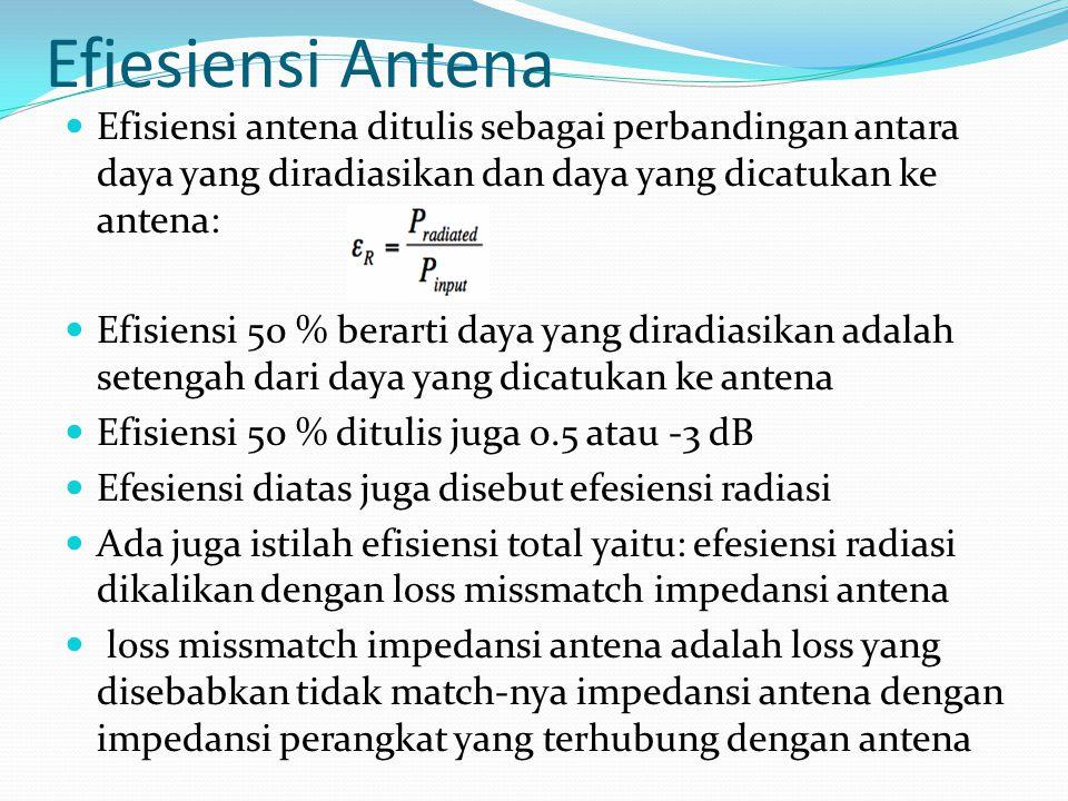 Efiesiensi Antena Efisiensi antena ditulis sebagai perbandingan antara daya yang diradiasikan dan daya yang dicatukan ke antena: Efisiensi 50 % berart