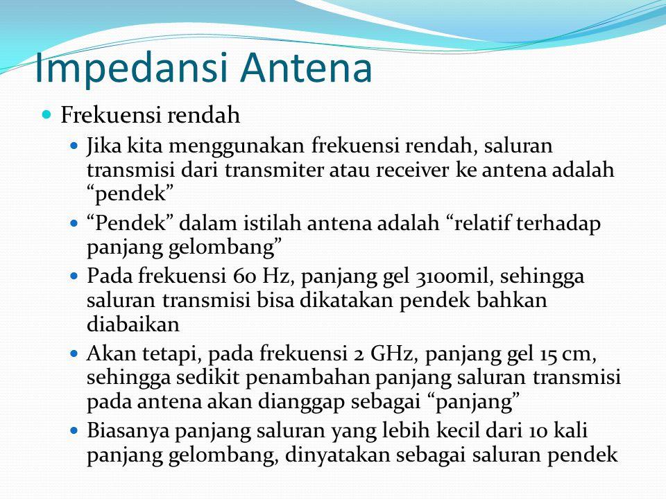 """Impedansi Antena Frekuensi rendah Jika kita menggunakan frekuensi rendah, saluran transmisi dari transmiter atau receiver ke antena adalah """"pendek"""" """"P"""