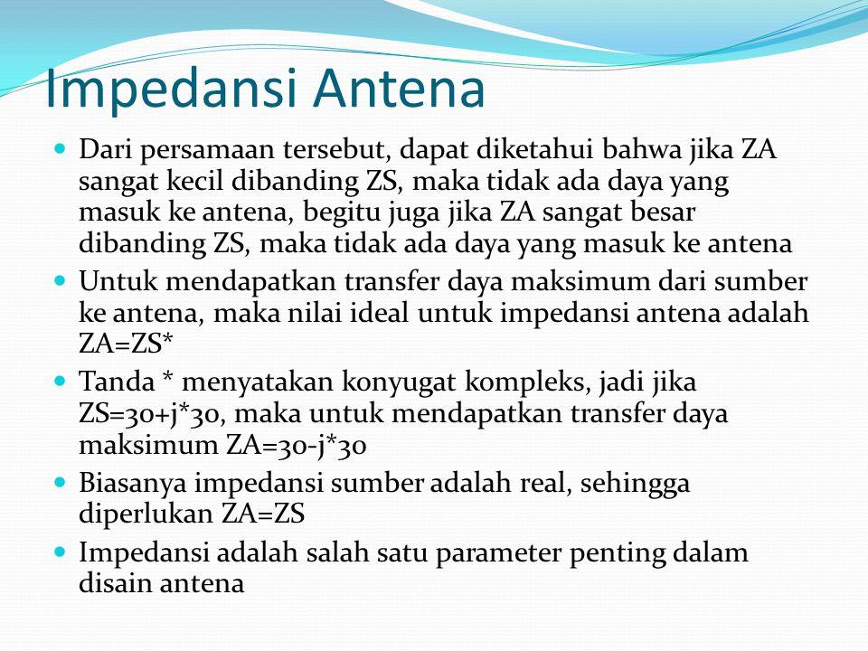 Impedansi Antena Dari persamaan tersebut, dapat diketahui bahwa jika ZA sangat kecil dibanding ZS, maka tidak ada daya yang masuk ke antena, begitu ju